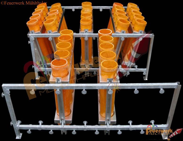 Racksystem aufgebaut3 Seitenteile, Racks tw. hintereinanderBeispiel 1